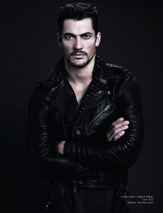 David Gandy in Leather Jacket