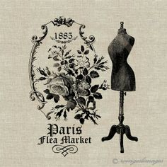 INSTANT DOWNLOAD Paris Flea Market Digital Image No.43 Iron-On Transfer to Fabric (burlap, linen) Paper Prints (cards, tags)