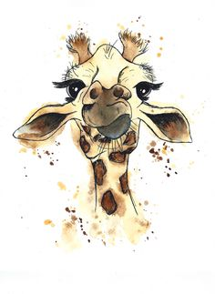 Giraffe Watercolour and Ink piece (ORIGINAL SOLD! Prints still availa. Giraffe Watercolour and Ink piece (ORIGINAL SOLD! Prints still available along with mugs and greetings cards. AR Art and Illustration Illustration Design Graphique, Vintage Illustration Art, Ink Illustrations, Watercolor Illustration, Giraffe Illustration, Disney Art Drawings, Art Drawings Sketches, Animal Drawings, Frida Art