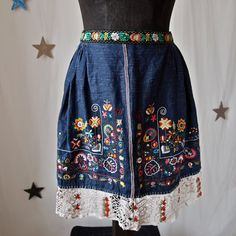 Czech Apron Moravian Hand Embroidered Crocheted Folk Costume Apron Dark Blue with Flowers, Fruit 1930's