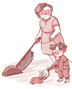 Lil' Usnavi helping Abuela clean :3 (Art by boopliette on Tumblr)