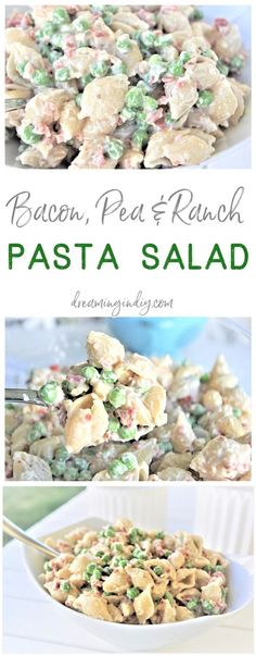 Easy Creamy Bacon Pea and Ranch Pasta Salad Side Dish Recipe Family Favorite - N. Easy Creamy Bacon Pea and Ranch Pasta Salad Side Dish Recipe Family Favorite - No chopping, dicing or waiting required. Ready in 15 minutes . Barbecue Sides, Barbecue Side Dishes, Side Dishes Easy, Side Dish Recipes, Picnic Side Dishes, Barbecue Recipes, Bbq Chicken Side Dishes, Cold Side Dishes, Chicken Recipes