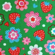 Fabric - Lecien House Designer - Lovely Punch - Berry and Flower Field in Green