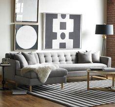 canapé d'angle gris pour le salon moderne