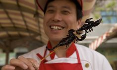 Deep fried scorpion on Wangfujing snack street. Photograph: Catherine Karnow/Corbis
