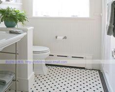 Cerámica mosaico telón damero blanco y negro ciruela hexagonal polígonos baldosas del suelo del baño / pegatinas rompecabezas en…