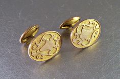Victorian Cuff Links Gold Filled Recessed by LynnHislopJewels