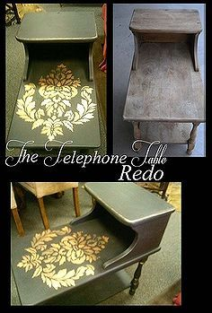 the telephone table redo, furniture furniture revivals, painting, Before and after I wish I taken a picture of the oreos stuck on there but I had to clean those off imediately