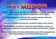 Department of Education Manila: Vision, Mission and Core Values Classroom Labels Free, Classroom Rules Poster, Teacher Classroom Decorations, Classroom Charts, Classroom Bulletin Boards, Math Classroom, Classroom Design, Classroom Calendar, English Classroom