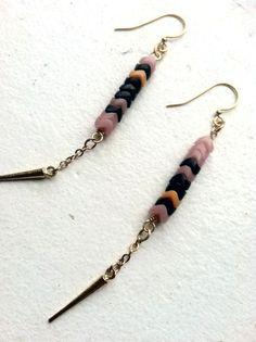 African Snake Bead Dangle Earrings with Brass Spike by LauraBusony