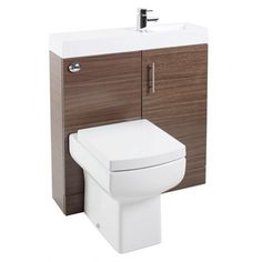 Vanity unit, basin, concealed cistern and toilet all different finishes available - gloss white, medium oak, walnut & black ashPre-assembled for easy installation x x manufacture's guarantee Basin Vanity Unit, Toilet Vanity Unit, Basin Unit, Toilet And Sink Unit, Toilet Sink, Vanity Units, Classic Bathroom Furniture, Bathroom Interior, Modern Bathroom