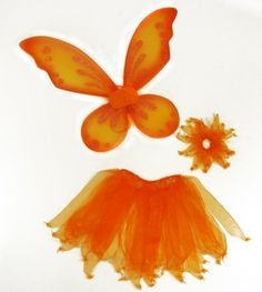 3 Piece Girls Orange Pixie Fairy Costume Wing Set with Wings, Tutu, Hair-tie (Pony-o). Peter Pan Jr, Fire Costume, Pony O, Amazon Clothes, Blue Fairy, Student Gifts, Hair Ties, Tinkerbell, Tutu