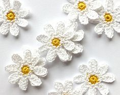 Crochet daisies - white flowers applique - flowers embellishments - wedding decorations - kids party decorations - set of 6  ~1.8 inches
