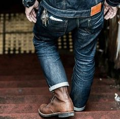 """Note: the subtle fashion of the """"Ass-Pocket Square"""" Of a bandanna, or Hipster Hankie, slightly poking above the back pocket. And large key-ring fastened to either the belt loop or hooked to the belt itself. Accessories for the Lumbersexual men in Red Wing Shoes, Denim Boots, Denim Jeans, Nudie Jeans, Levis, Leather Boots, Brown Leather, Raw Denim, Shoes"""