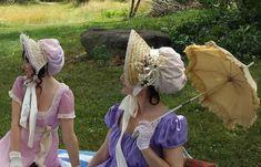 Making a Regency Bonnet – Better Dresses Vintage Regency Dress, Regency Era, Historical Costume, Historical Clothing, Historical Dress, Vintage Dresses, Nice Dresses, Bonnet Pattern, 18th Century Clothing