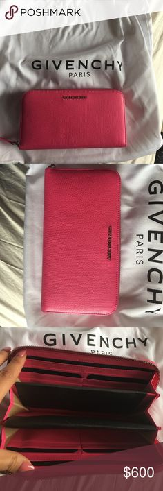 Bright pink Givenchy zip wallet Product details found in photo!! Givenchy Bags Wallets