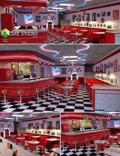 Menu Restaurant Design, Concept Restaurant, Diner Restaurant, 1950s Diner, Vintage Diner, Retro Diner, 50s Diner Kitchen, Bar Kitchen, Retro Cafe