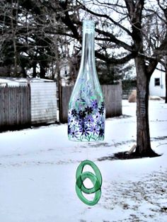 Wine Bottle Wind Chime,  Recycled Green Wine Bottle,  Hand Painted Purple Flowers, Garden Decoration