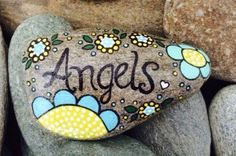 """Happy Rock - """"Angels"""" - Hand-Painted River Rock - Yellow/Blue flowers"""