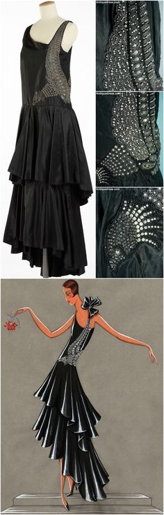 """Evening dress """"Bel Oiseau,"""" by Lanvin, Autumn / Winter 1928-29. Silk taffeta, embroidered Swarovski crystals, pearls and metallic thread. Clockwise from top left: Musée Galliera's version of the dress (Photo © Olivier Saillant); details of the embroidery from a second version, available at Antiquedress.com; design sketch from the Lanvin archives."""