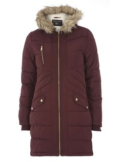 Aubergine Panelled Puffa coat