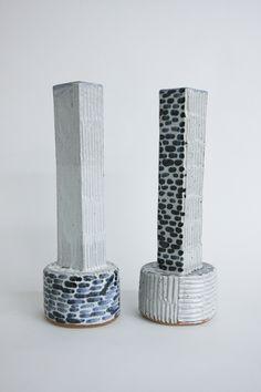 BZIPPY & CO. Blue and white tall vase