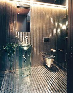metallic bathroom
