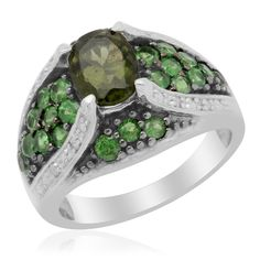 Liquidation Channel - Affordable Bohemian Moldavite (Ovl 1.00 Ct), Tsavorite Garnet, Diamond Ring in Platinum Overlay Sterling Silver Nickel Free (Size 7) TDiaWt 0.04cts, TGW 2.24 cts.