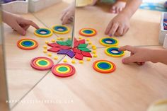 Playful Math with Mirror Books: Math doodling with physical manipulatives. Pre K Activities, Montessori Activities, Creative Play, Creative Thinking, Learning Resources, Kids Learning, Early Learning, Making Paper Snowflakes, Math Art