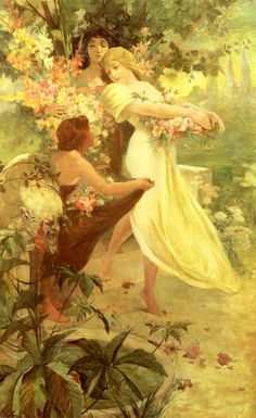 Spirit of Spring by Alfons Maria Mucha (1860 - 1939) Fell in love with Mucha while in Budapest...hangs on my wall as a memory