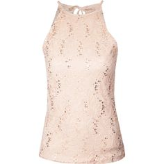 Jane Norman Lace and sequin Racerback Top ($19) ❤ liked on Polyvore featuring tops, pale pink, tie back top, racerback top, lacy tops, pale pink top and sequin embellished top