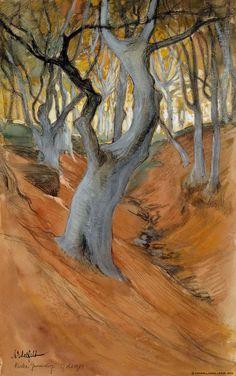 'Beech Forest', 1901 - by Albert Edelfelt, Intermediate Colors, Leaf Art, Mountain Landscape, Tree Art, Art Forms, Landscape Paintings, Tree Paintings, Amazing Art, Watercolor Art