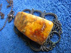 Natural Baltic amber 43 gr yolk yellow Orange large Pendant Necklace 琥珀 Antique #HandMade