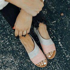 c12d6e028 Women Daily Low Heel Panel Sandals – shecici