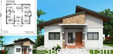 Home design Plan with 3 bedrooms.House description:One Car Parking and gardenGround Level: Living room, Dining room, Kitchen, Bungalow Floor Plans, Modern Bungalow House, Home Design Floor Plans, Bungalow Homes, House Layout Plans, House Layouts, Best House Plans, Small House Plans, Small House Design
