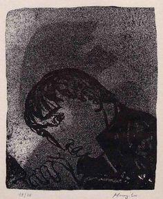 Hunziker,Max : JÜNGLING im SCHATTEN - Handsignierte Handätzung des SCHWEIZER Surrealisten