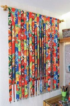 Diy With Fabric Scraps Beaded Curtains, Diy Curtains, Thermal Curtains, Home Crafts, Diy Home Decor, Diy And Crafts, Crochet Pattern Free, Rideaux Design, Handmade Home
