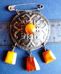 Natural Baltic Amber Yellow pins brooch sakta Vintage Retro 琥珀 Latvia National #handmade