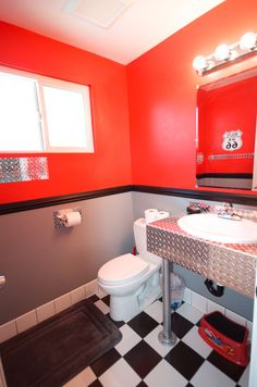 Disney Cars themed bathroom, complete with bathroom finishes by http://www.etsy.com/shop/Bevnapblueprints