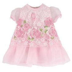 Miss Blumarine - Robe délicate en organza finement brodé à fleurs - Rose clair - 117331