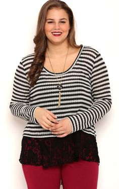 Deb Shops Plus Size Long Sleeve Metallic Stripe 2fer Top with Lace Layer $17.10