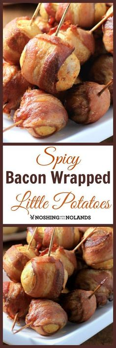 Spicy Bacon Wrapped Little Potatoes by Noshing With The Nolands make the perfect appetizer for all your holiday gatherings! They are sure to be a hit with all your guests!
