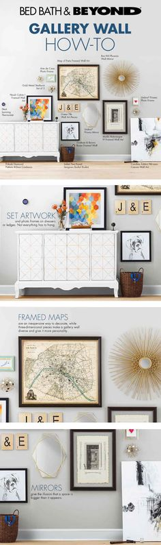 """Set artwork and photo frames on dressers or ledges. Not everything has to hang. Framed maps are an inexpensive way to decorate, while three-dimensional pieces make a gallery wall diverse and give it more personality. Mirrors give the illusion that a space is bigger than it appears."""