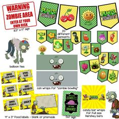 This is a Plants vs Zombies-themed birthday party pack that contains printable files for 20 pennants, 2 can wraps for playing Zombie Bowling, 6 Plants Vs Zombies, Zombies Vs, Zombie Birthday Parties, Zombie Party, Birthday Party Themes, 8th Birthday, Ideas Decoracion Cumpleaños, Plantas Versus Zombies, Zombie Decorations