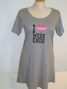 Fun for Summer!    Rampage Nightgown 1X 2X 3X nightgown I ♥ WEEKENDS Gray Sleep Shirt NEW ebay item 400714365561