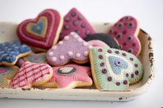 the sugar cookies look like little quilts.