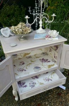 French shabby chic cabinet in Annie Sloan's Paloma and Old Ochre with Laura Ashley Gosford Meadow Plum interior decoupage, by Imperfectly Perfect xx