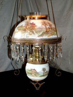 Antique B Amp H Hanging Oil Lamp Matching Country Scene Shade Amp Font Holder | eBay