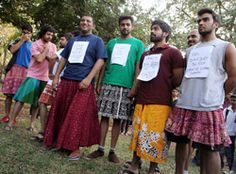 """They cross-dressed for a cause: Skirted, they walked, 25 of them,  all in their mid-20s, inviting intense and intriguing glares and glances, to disprove the  common notion that anything 'skirted' is inviting to be 'raped.'"" Bangalore"