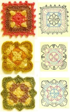 funwithfibers: A huge and lovely assortment of granny square patterns. Great resource for different gift ideas Crochet Diy, Crochet Motifs, Crochet Blocks, Crochet Diagram, Crochet Stitches Patterns, Crochet Chart, Crochet Squares, Knitting Patterns, Crochet Doilies